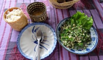 Salada Laos, folhas com peixe, carne moída e hortelã