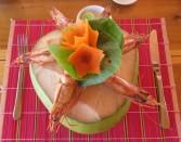 Camarão cozido no côco