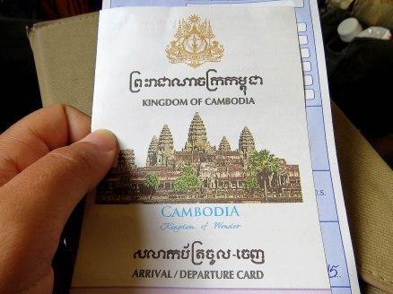 Formulário para entrar no Camboja
