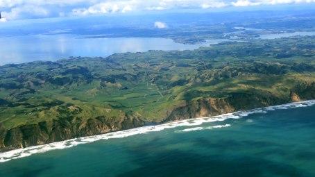 Vista do avião chegando em Auckland