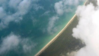 Vista aérea da chegada no México